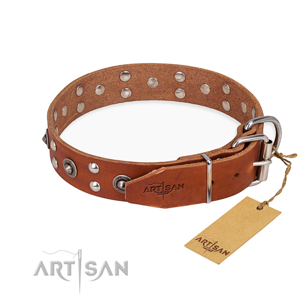 Rust-proof hardware on full grain leather collar for your attractive canine