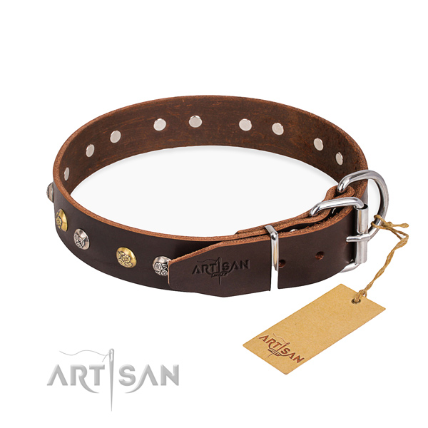 Best quality leather dog collar handmade for basic training