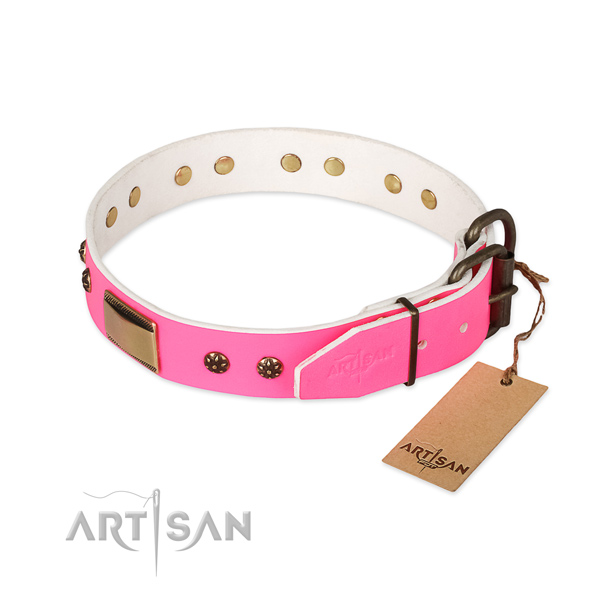 Rust resistant fittings on full grain genuine leather dog collar for your pet