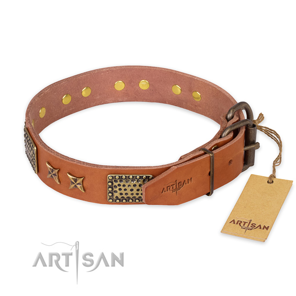 Corrosion proof buckle on genuine leather collar for your lovely pet