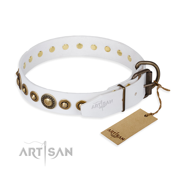 Gentle to touch full grain leather dog collar handcrafted for daily walking