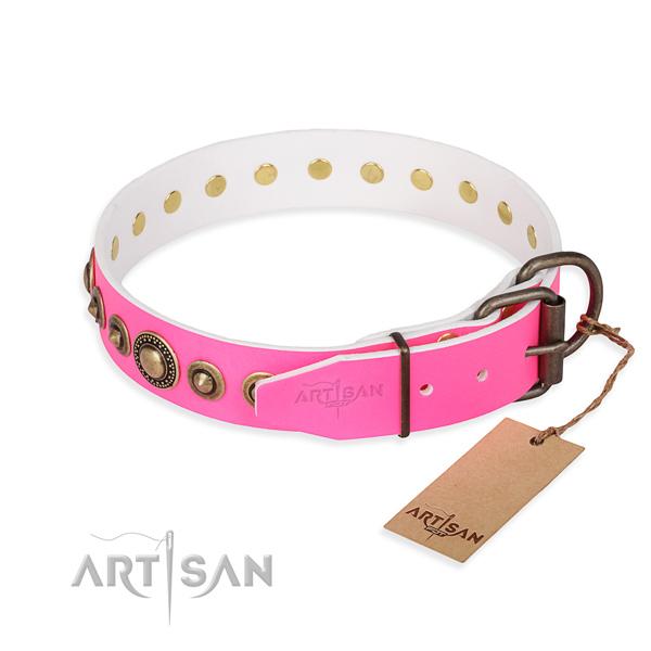 Reliable genuine leather dog collar created for daily walking