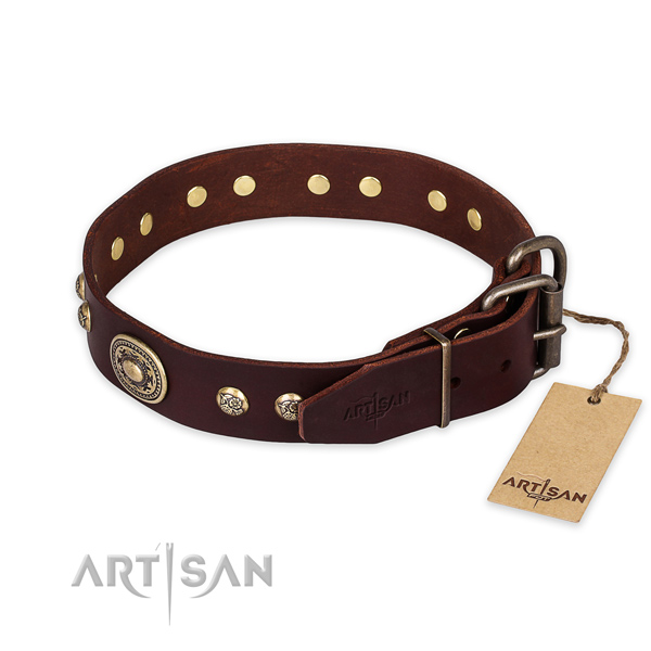 Durable fittings on genuine leather collar for fancy walking your dog