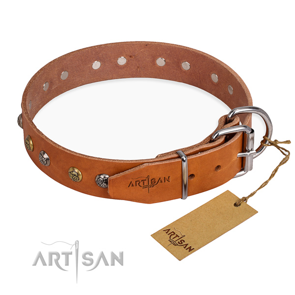 Full grain leather dog collar with exquisite strong studs