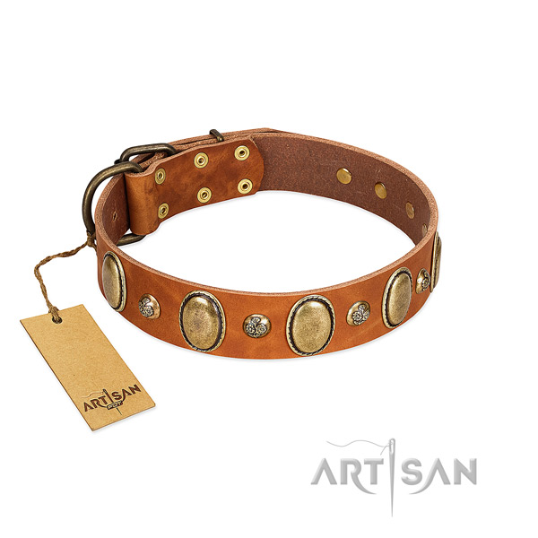 Full grain genuine leather dog collar of best quality material with remarkable embellishments