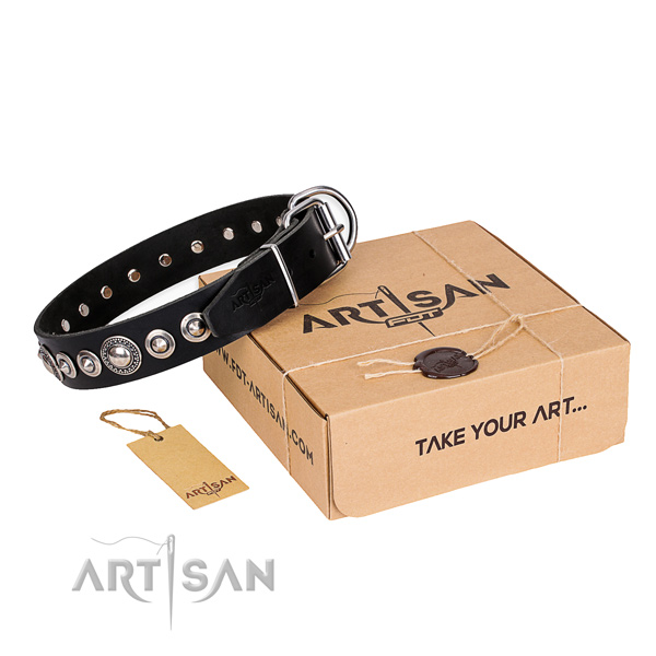 High quality full grain leather dog collar