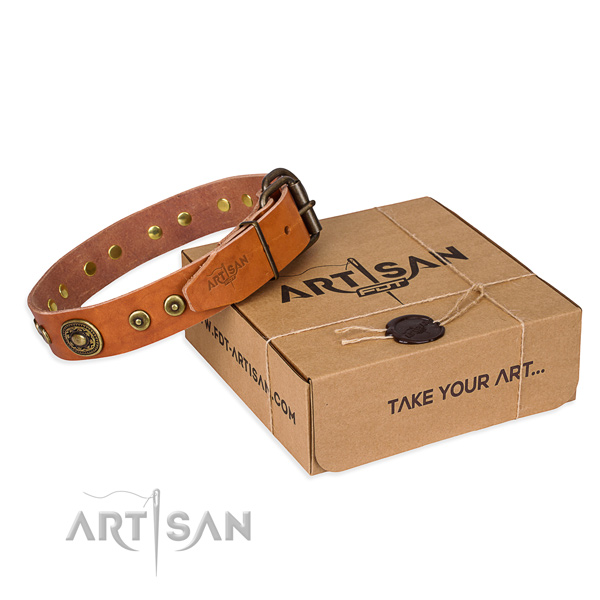 Leather dog collar made of soft to touch material with strong buckle