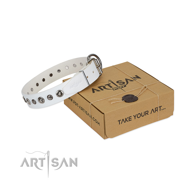 Durable full grain genuine leather dog collar with significant studs