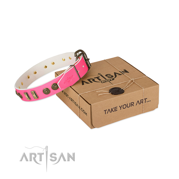 Corrosion proof embellishments on full grain leather dog collar for your four-legged friend