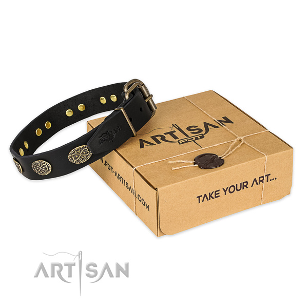 Reliable D-ring on natural genuine leather collar for your lovely pet