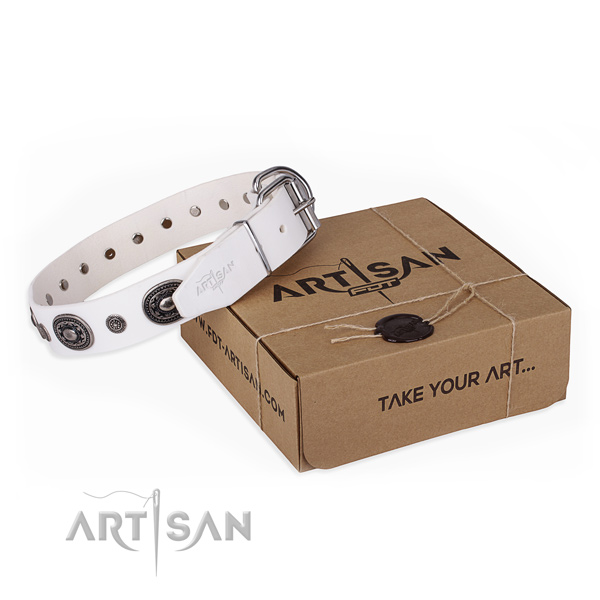 Flexible natural genuine leather dog collar created for comfortable wearing