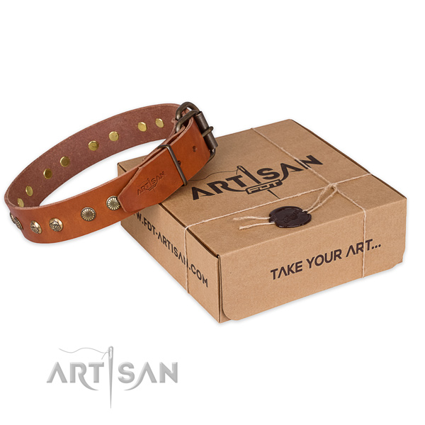 Corrosion proof hardware on natural genuine leather collar for your handsome canine
