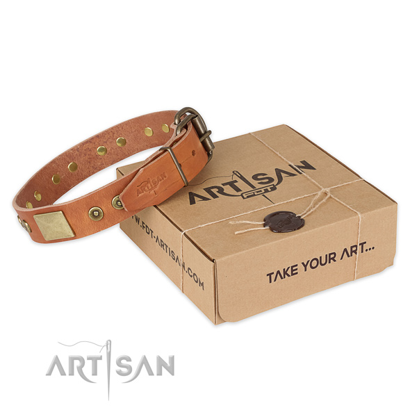 Rust resistant D-ring on genuine leather dog collar for handy use
