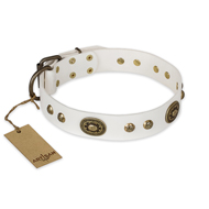 """Adorable Dream"" FDT Artisan White Leather English Bull Terrier Collar"