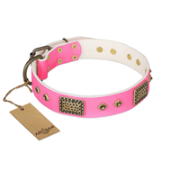 """Frenzy Candy"" FDT Artisan Decorated Pink Leather English Bull Terrier Collar"