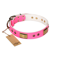 """Pink Daydream"" FDT Artisan Pink Leather English Bull Terrier Collar with Old Bronze Look Plates and Studs"