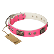 """Fashion Skulls"" FDT Artisan Pink Leather English Bull Terrier Collar with Old Silver Look Plates and Skulls"