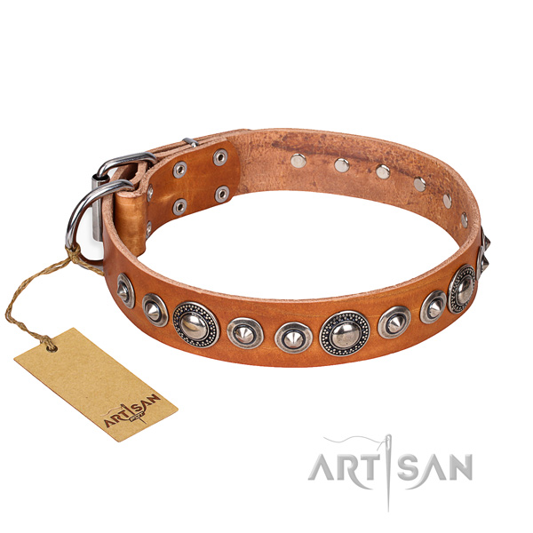 Genuine leather dog collar made of quality material with rust-proof D-ring