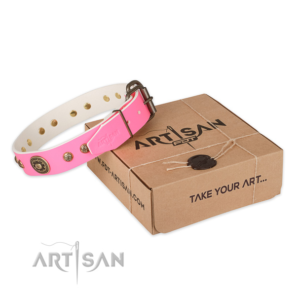 Durable hardware on full grain genuine leather dog collar for handy use