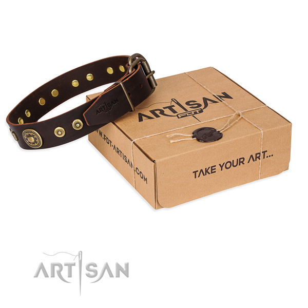 Full grain natural leather dog collar made of best quality material with rust resistant D-ring