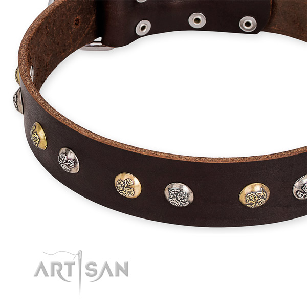 Natural genuine leather dog collar with inimitable reliable adornments
