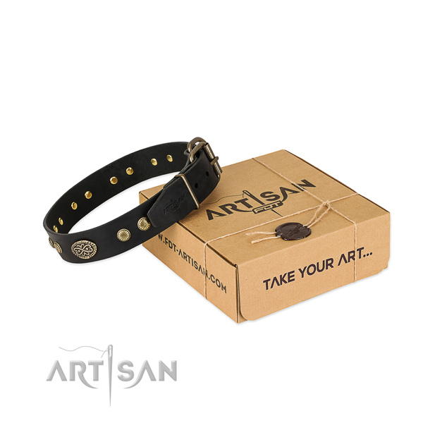 Strong traditional buckle on full grain genuine leather dog collar for your dog