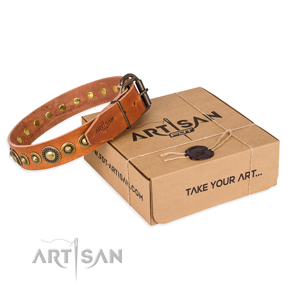 Gentle to touch full grain leather dog collar handcrafted for daily use