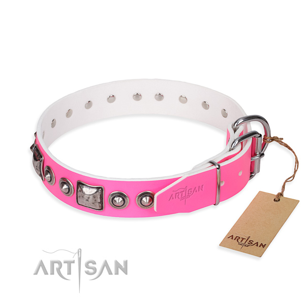 Soft leather dog collar crafted for stylish walking