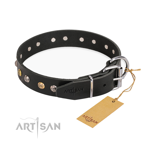 Durable natural genuine leather dog collar created for daily walking