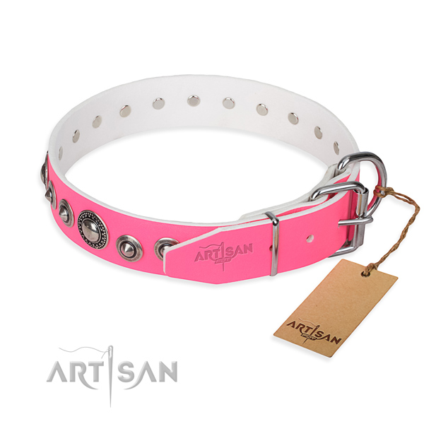 Full grain leather dog collar made of flexible material with strong embellishments