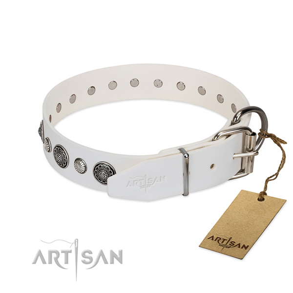 Soft genuine leather dog collar with rust-proof buckle