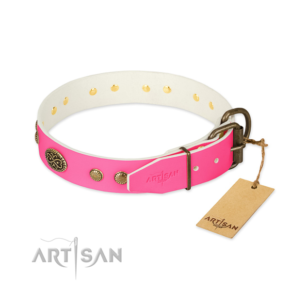 Corrosion resistant decorations on full grain leather dog collar for your four-legged friend