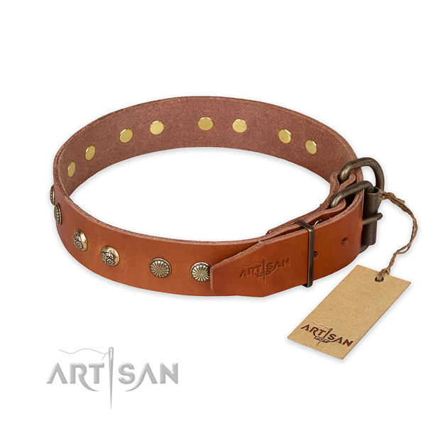Strong traditional buckle on full grain genuine leather collar for your beautiful pet