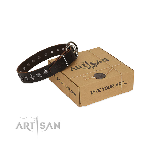 Handy use dog collar of strong full grain natural leather with embellishments