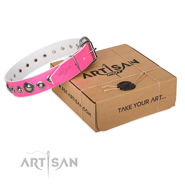 Leather dog collar made of soft material with corrosion proof D-ring