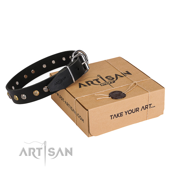 Durable natural genuine leather dog collar crafted for daily use