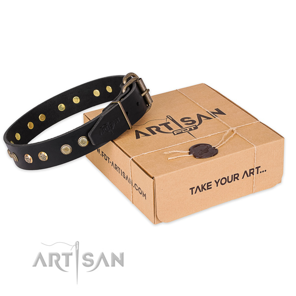 Corrosion resistant hardware on full grain leather collar for your beautiful canine