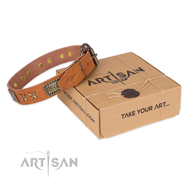 Durable hardware on full grain natural leather collar for your attractive dog