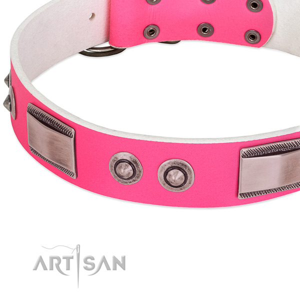 Easy adjustable genuine leather collar with studs for your four-legged friend