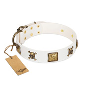 """Glo Up"" FDT Artisan White Leather English Bull Terrier Collar with Skulls and Crossbones Combined with Squares"