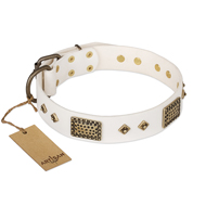 """Snow-covered Gold"" FDT Artisan White Leather English Bull Terrier Collar"