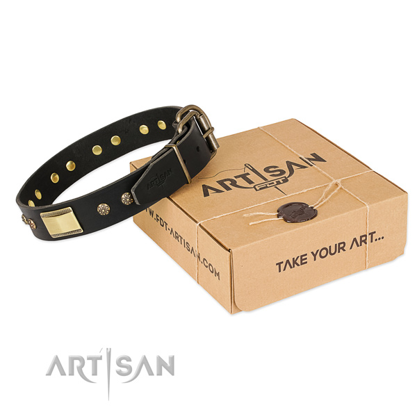 Top quality natural leather collar for your beautiful dog