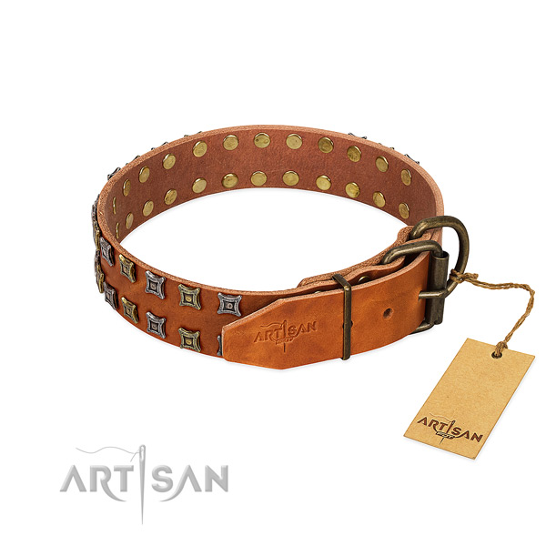 Flexible full grain leather dog collar handcrafted for your dog