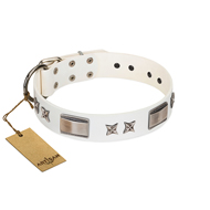 """Bling-Bling"" FDT Artisan White Leather English Bull Terrier Collar with Sparkling Stars and Plates"