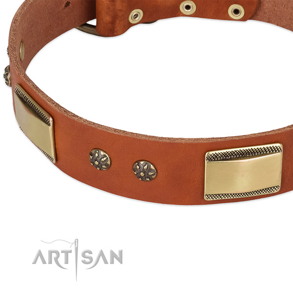 Strong D-ring on full grain genuine leather dog collar for your four-legged friend