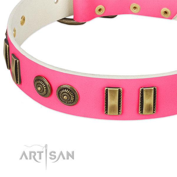 Corrosion proof traditional buckle on full grain natural leather dog collar for your doggie