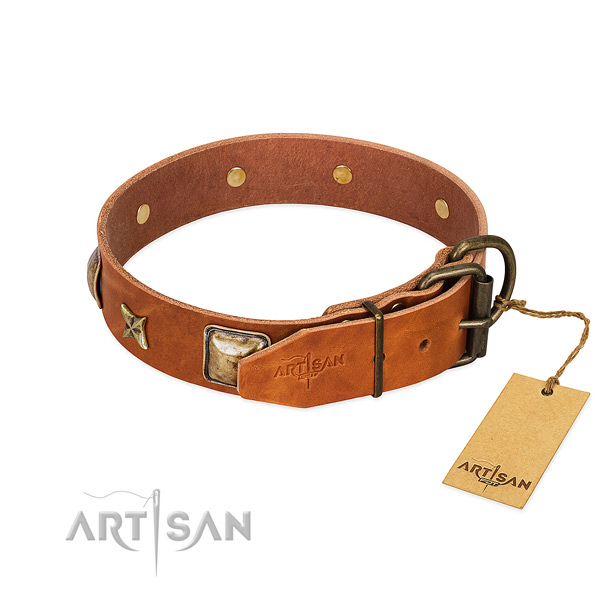Full grain leather dog collar with strong D-ring and adornments