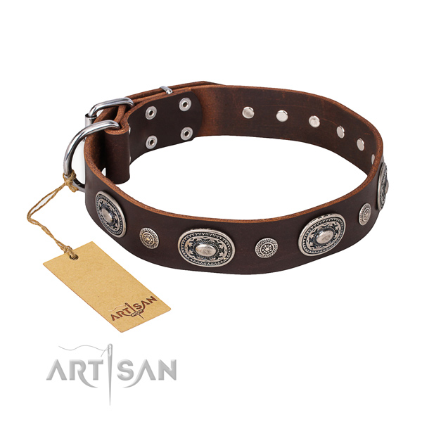 Quality full grain leather collar made for your pet