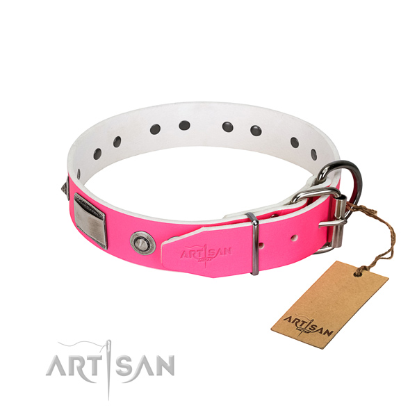 Easy adjustable dog collar of leather with adornments