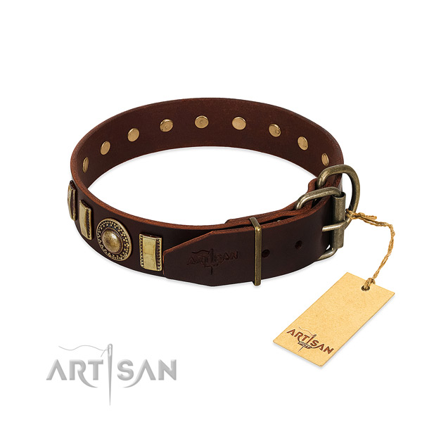 Perfect fit full grain leather dog collar with strong buckle